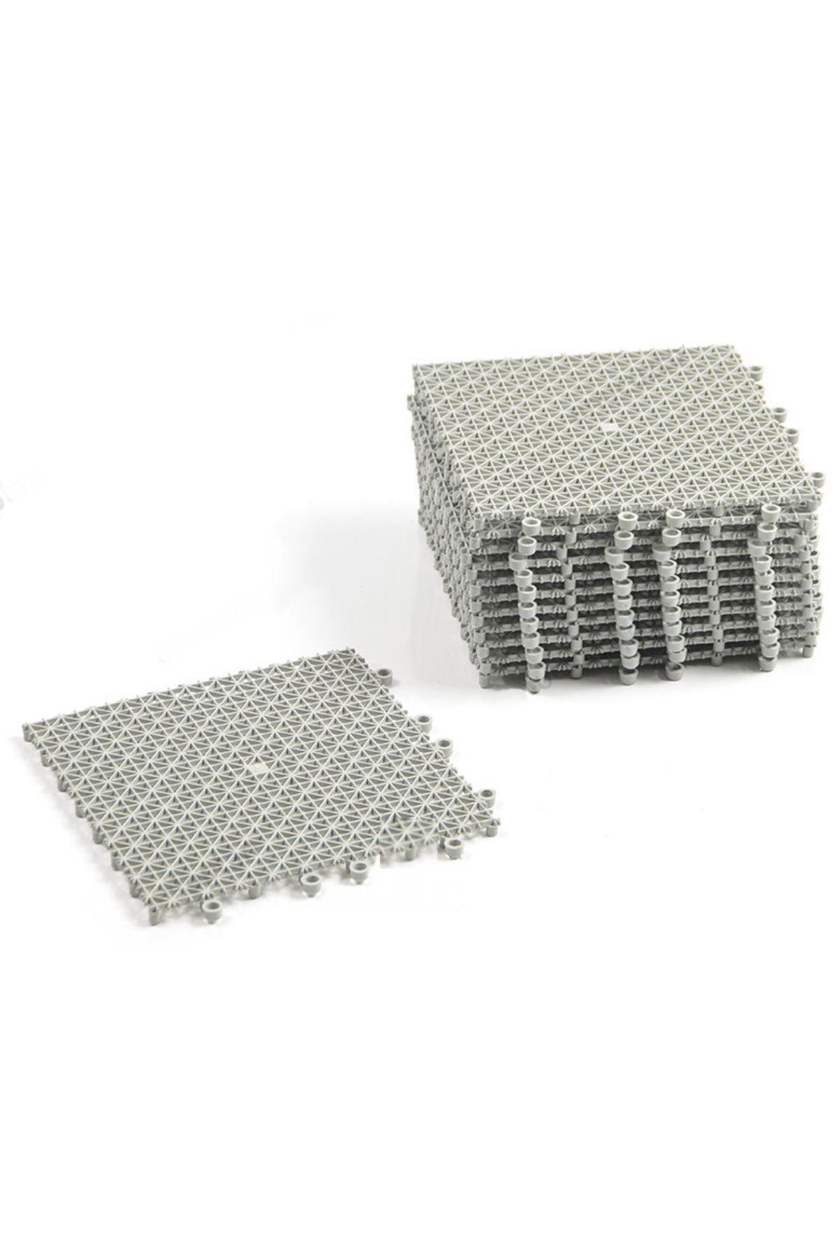 Gri Plastik Kırılmaz Yer Karosu Zemin Kaplaması 1m2 ( 16 Adet ) 25 X 25 Cm grikaro