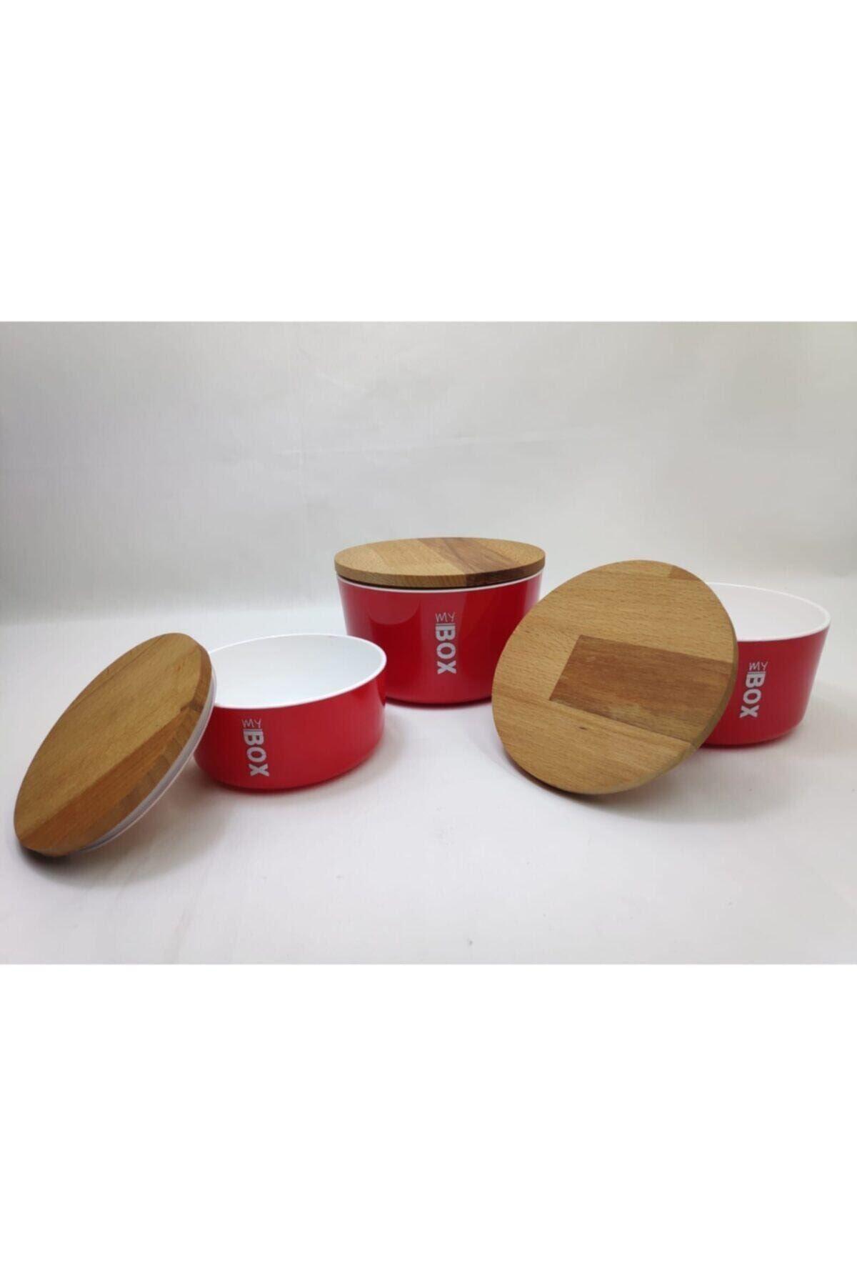 My Box Kırmızı Mika Saklama Kabı 3'lü (bambu Kapaklı)