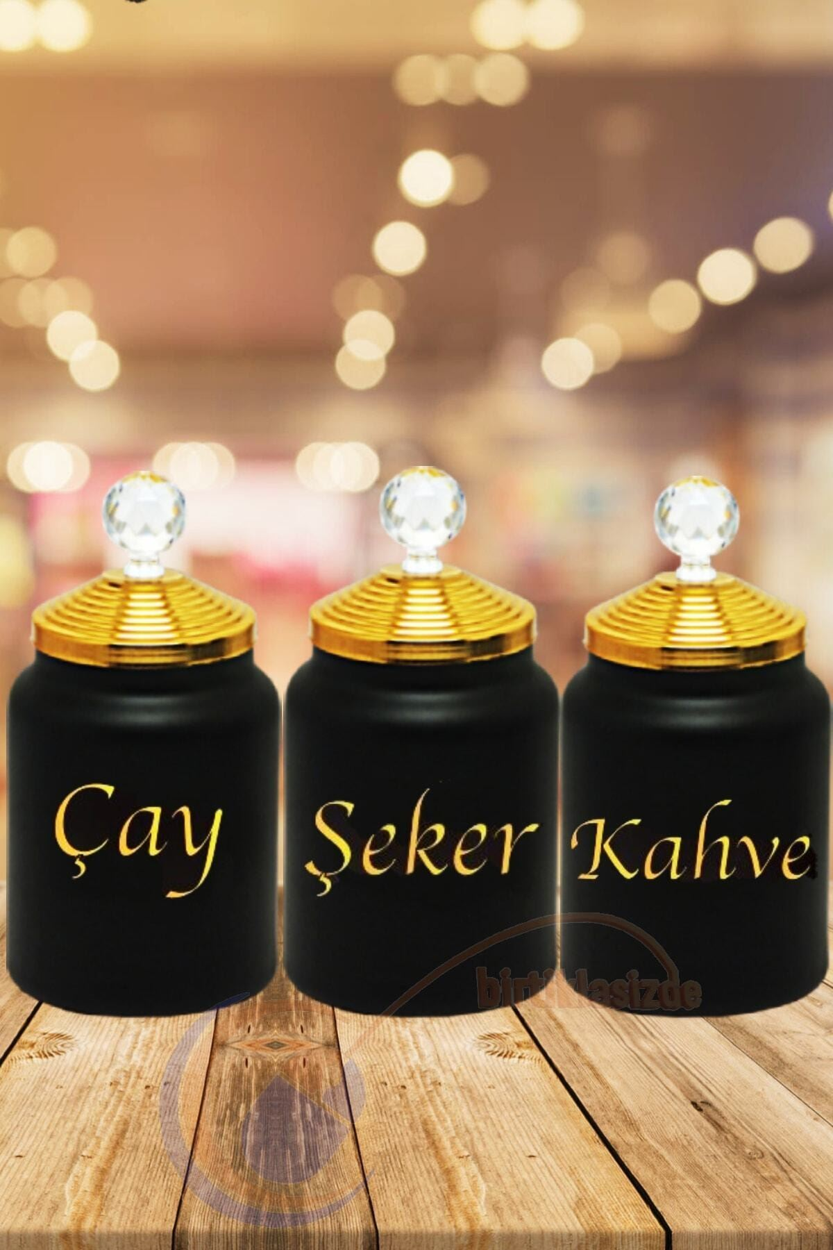 3'lü Dekoratif Saklama Cam Kavanozu