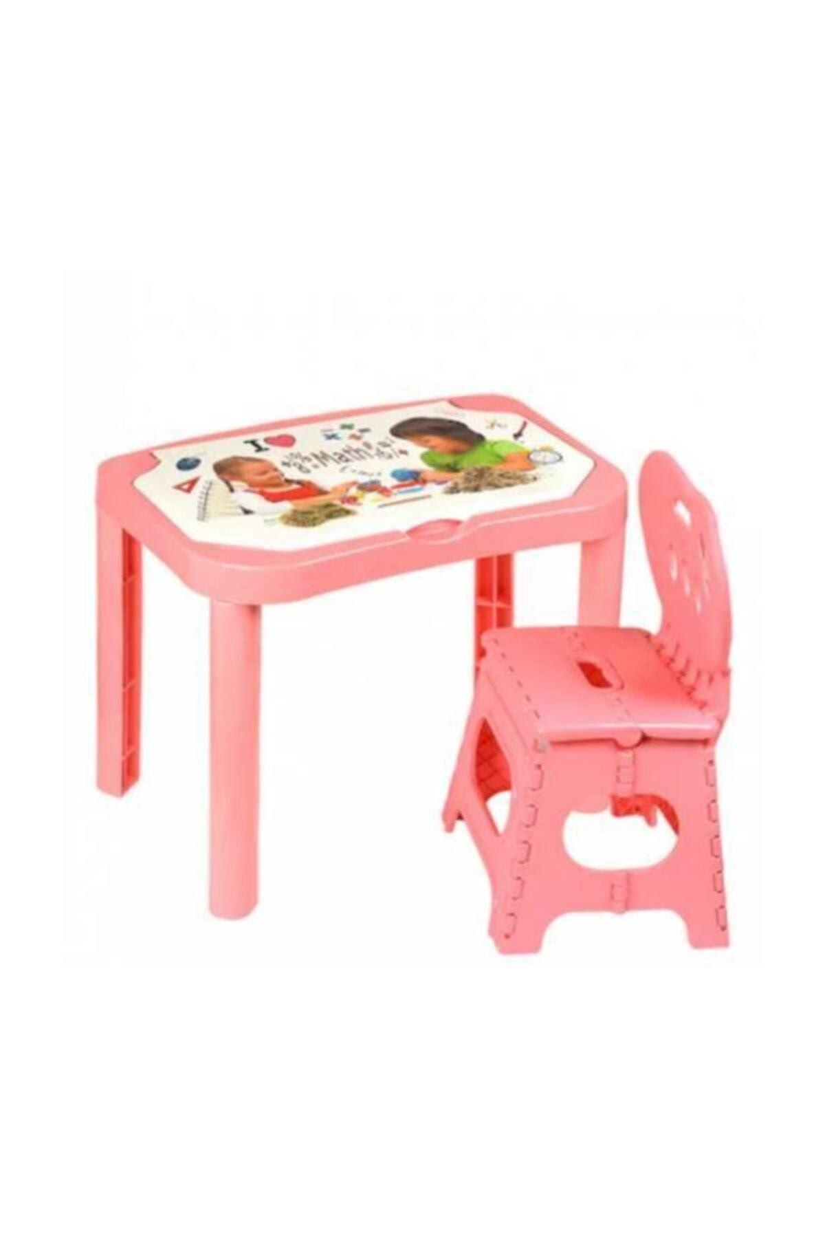 Çocuk Aktivite Çalışma Ve Oyun Masası Kinetik Kumlu Sandalyeli Pembe