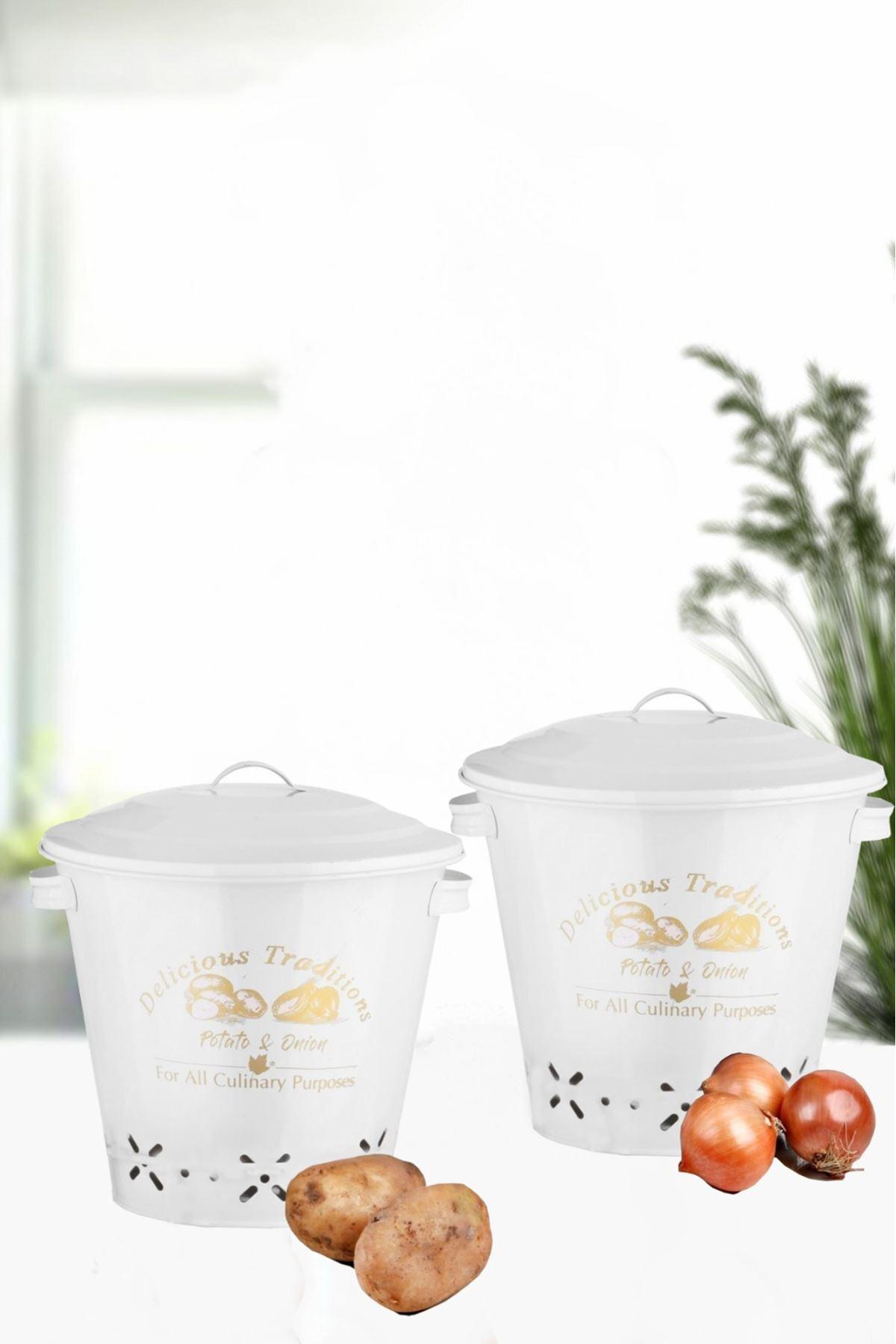Kitchen Trend 2 Li Patates Soğan Kovası Beyaz