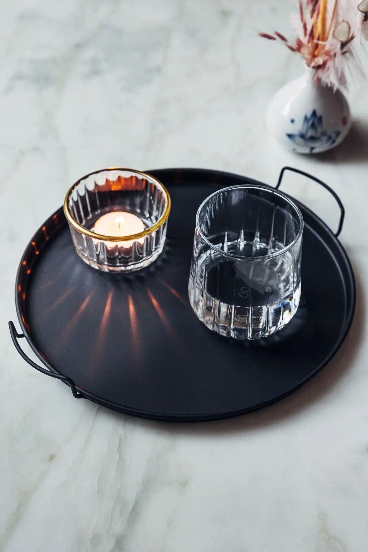 Kitchen Trend Dekoratif Dekoratif Siyah Metal Tepsi