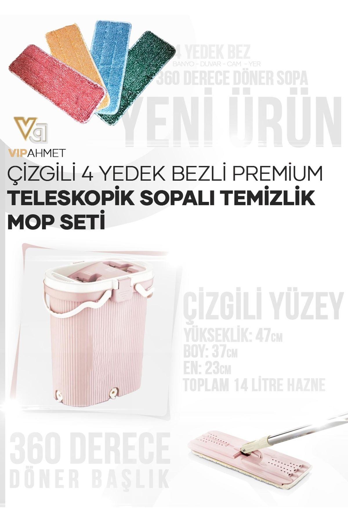 Vip Ahmet Yeni Çizgili 4 Yedek Bezli Premium Teleskopik Sopalı Temizlik Mop Seti
