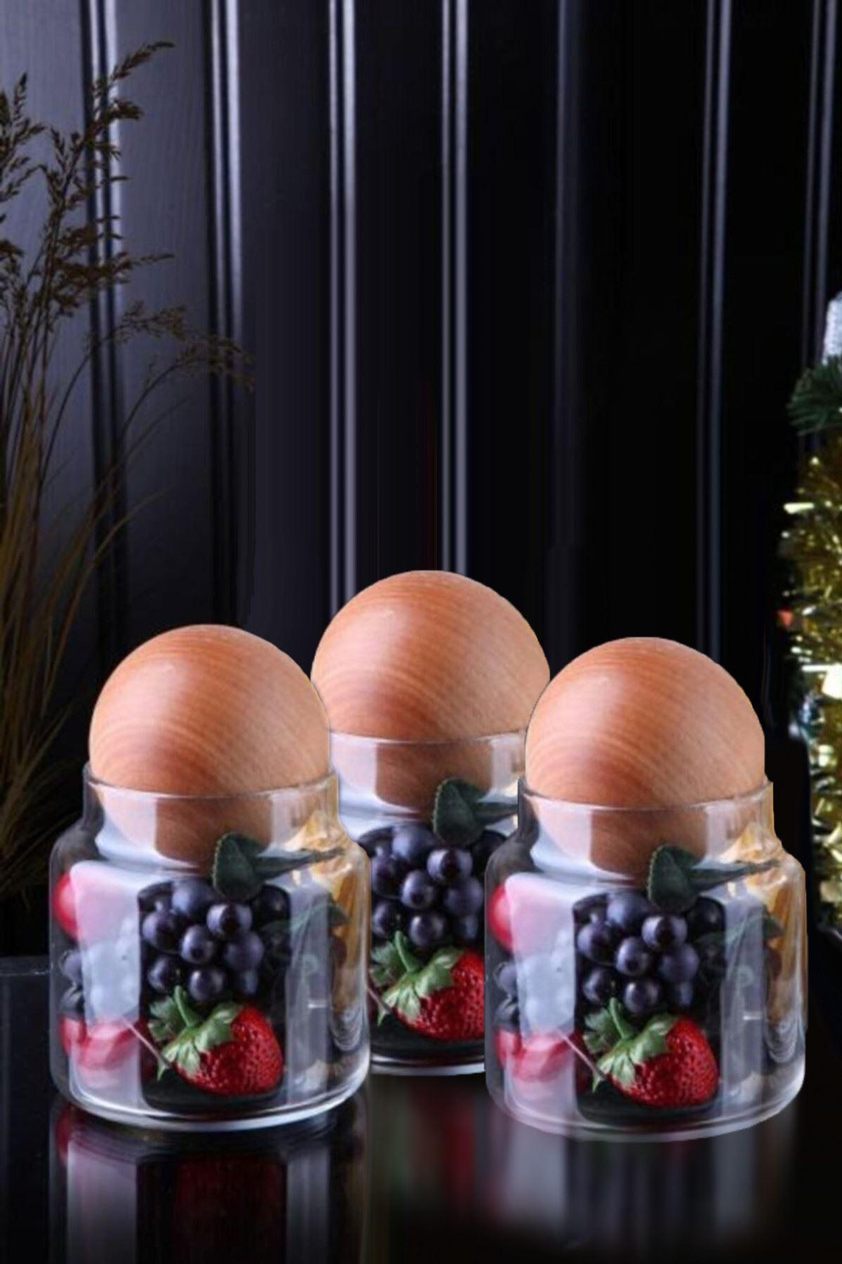Kitchen Trend Ahşap Top Kapaklı 500 ML 3'lü Geometrik Cam Kavanoz Seti