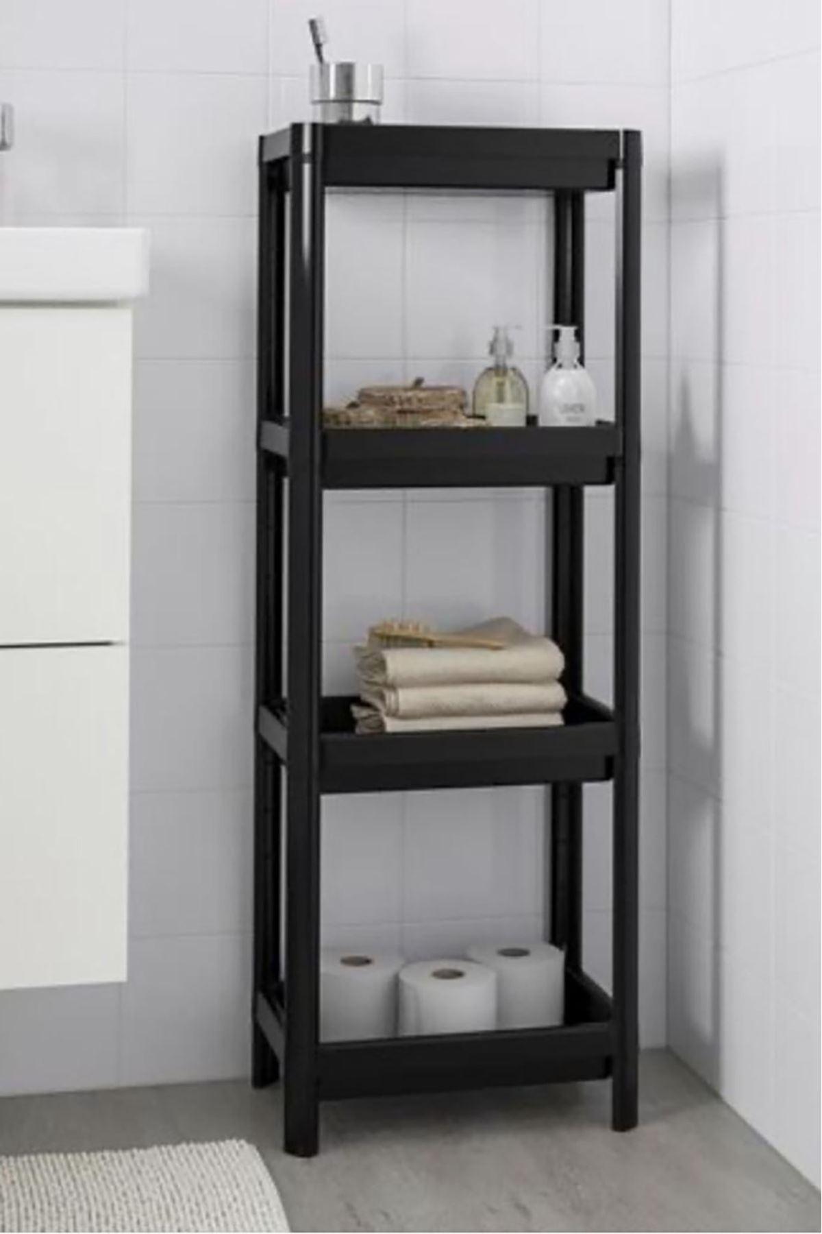 Kitchen Trend 4 Katlı Banyo Rafı Siyah