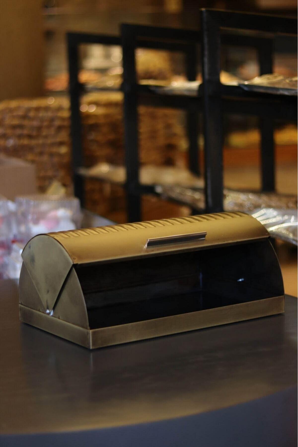 Kitchen Trend Metal Eskitme Gold Ekmek Saklama Kutusu