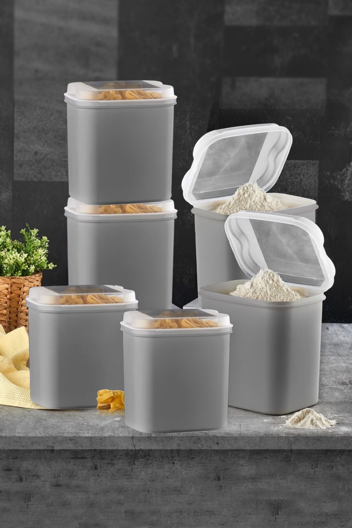 Kitchen Trend 6 LI Un ve Bakliyat Kabı 4,5 Litre Gri