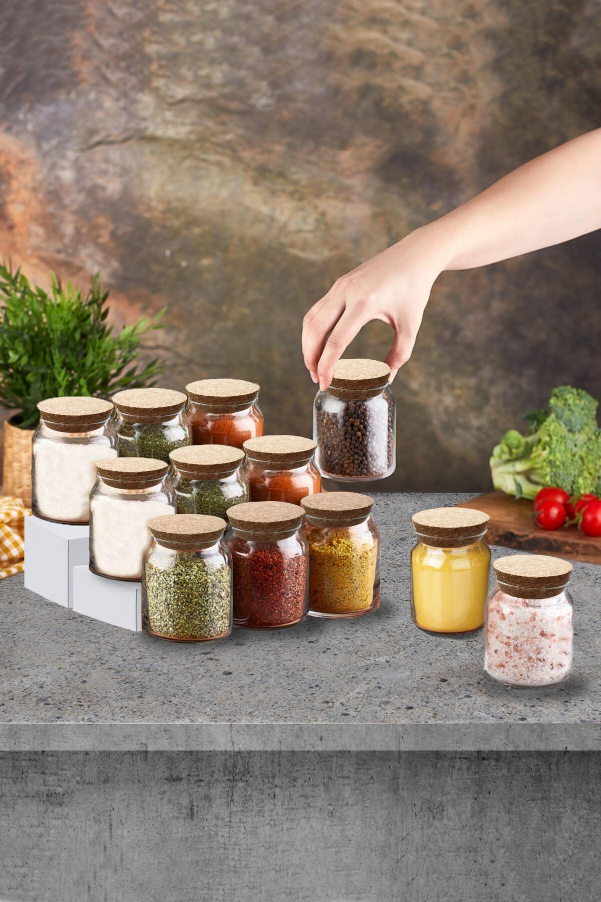 Kitchen Trend Mantar Kapaklı 12 Li Cam Baharatlık Seti