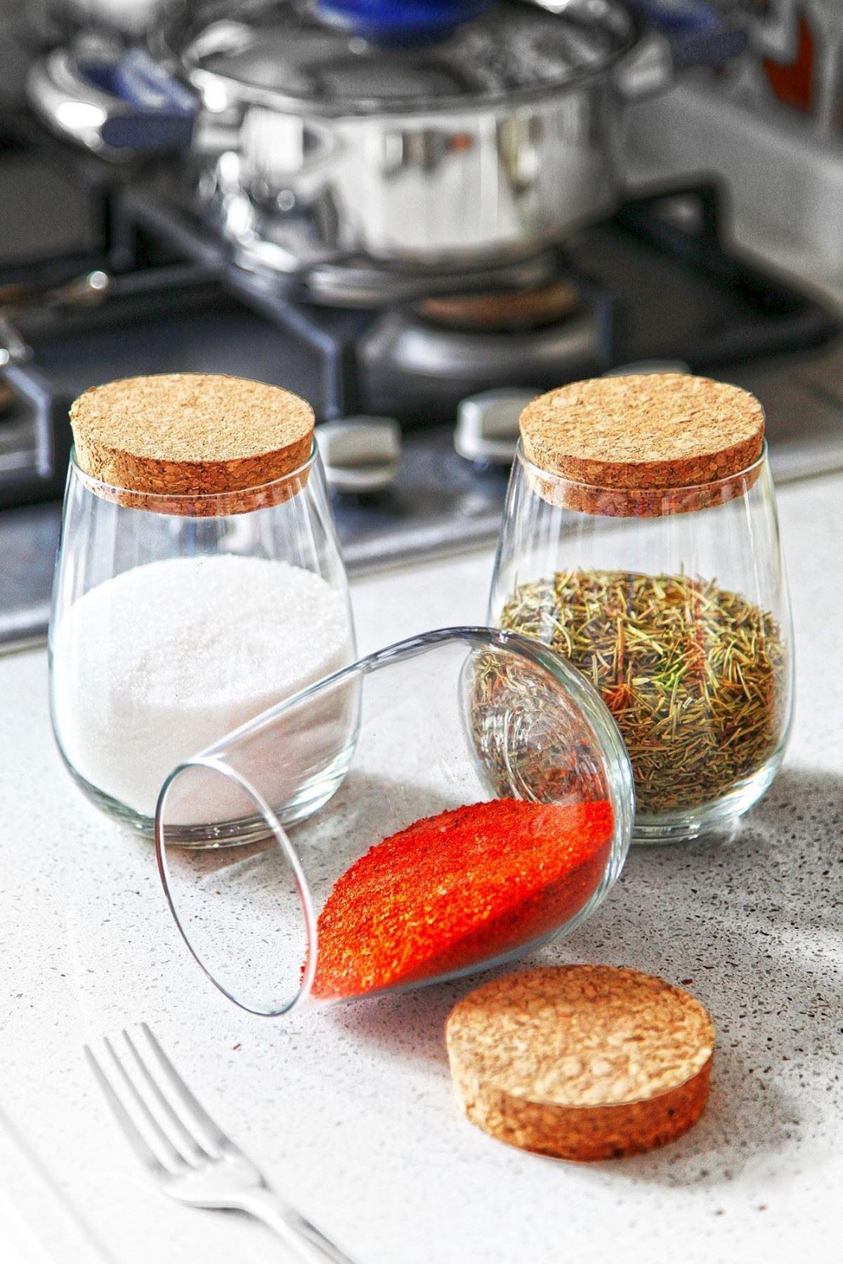 Kitchen Trend Damla Model 3 Lü Mantar Kapaklı Cam Kavanoz