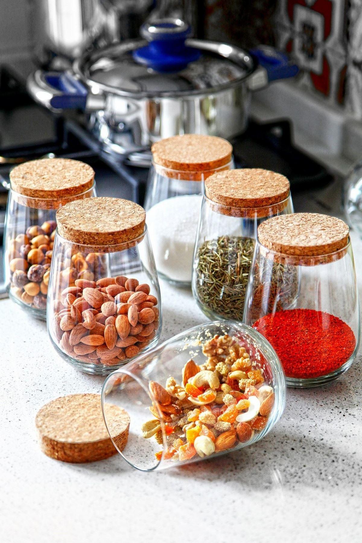 Kitchen Trend Damla Model 6 Lı Mantar Kapaklı Cam Kavanoz