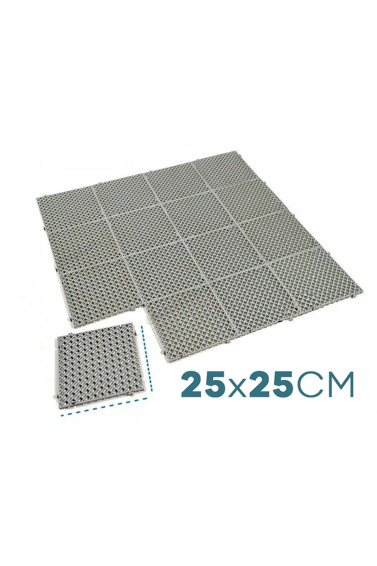 Birtiklasizde 16 Adet (1 m2) Plastik Yer Karosu Gri  Zemin Kaplaması