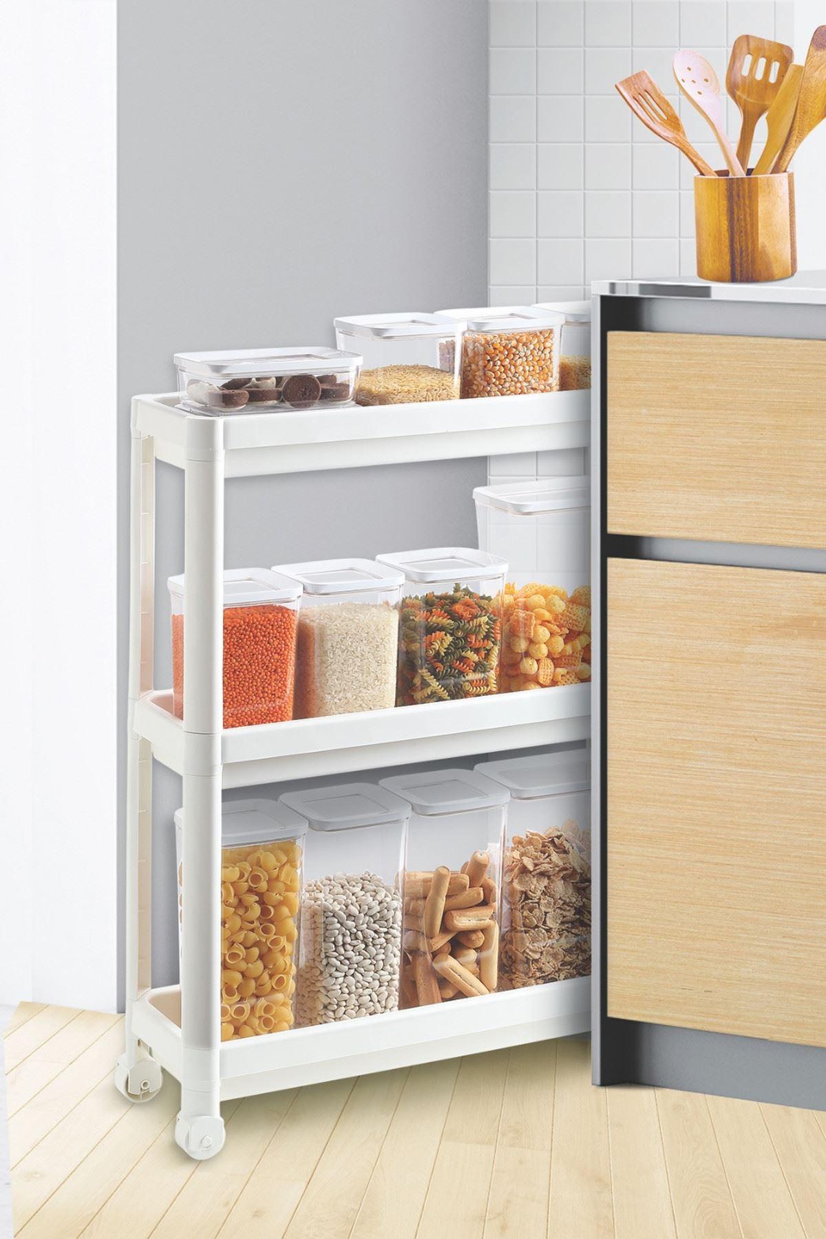 Kitchen Trend Beyaz Çok Amaçlı Tekerlekli Raf Mutfak Raf Plastik Raf Banyo Raf