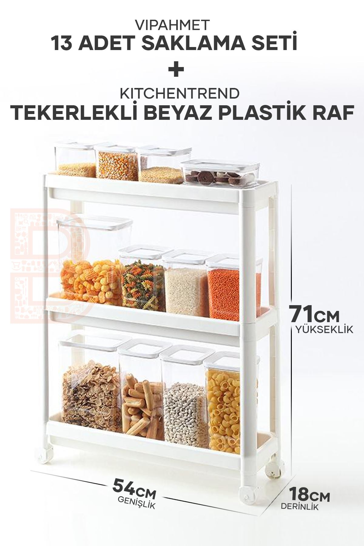 Vip Ahmet 13 Lü Saklama Seti + Kitchen Trend Tekerlekli Beyaz Plastik Raf