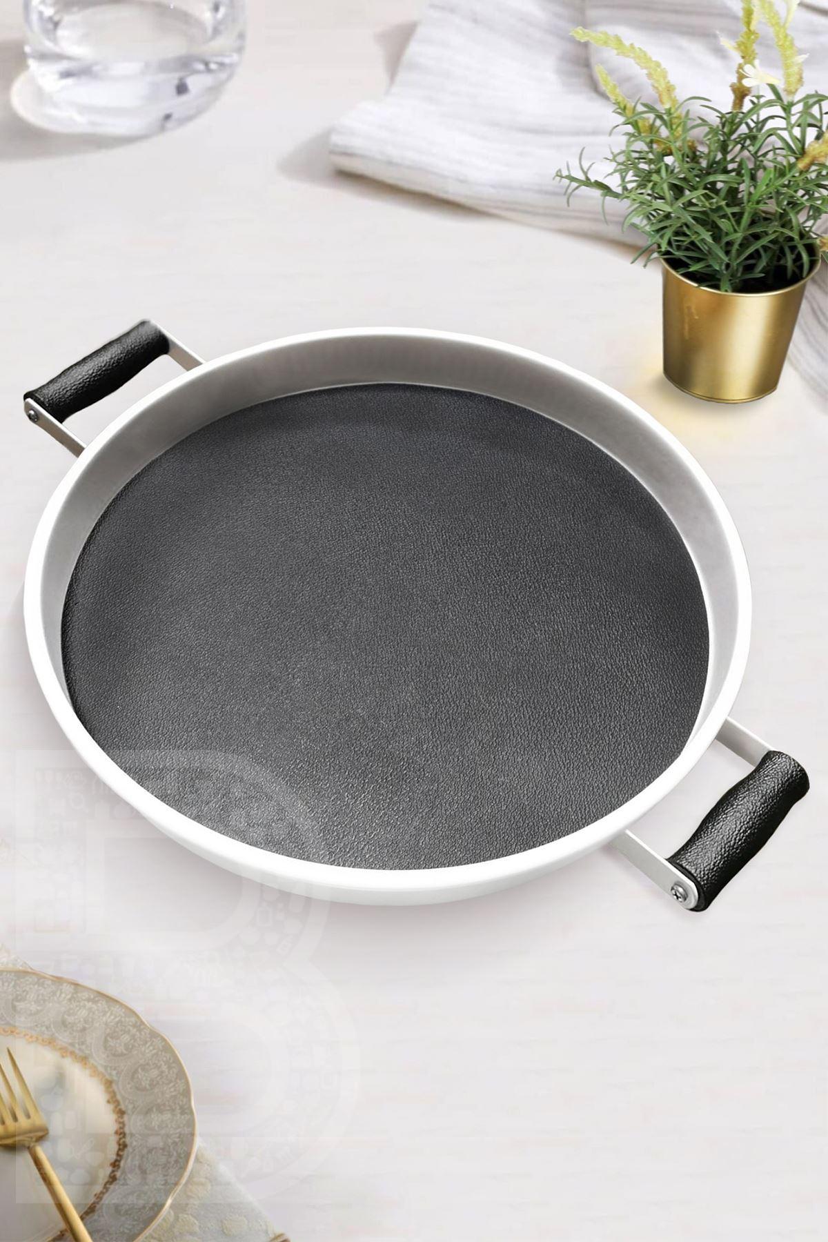 Kitchen Trend Galvaniz 37 Cm Siyah Deri Servis Tepsisi