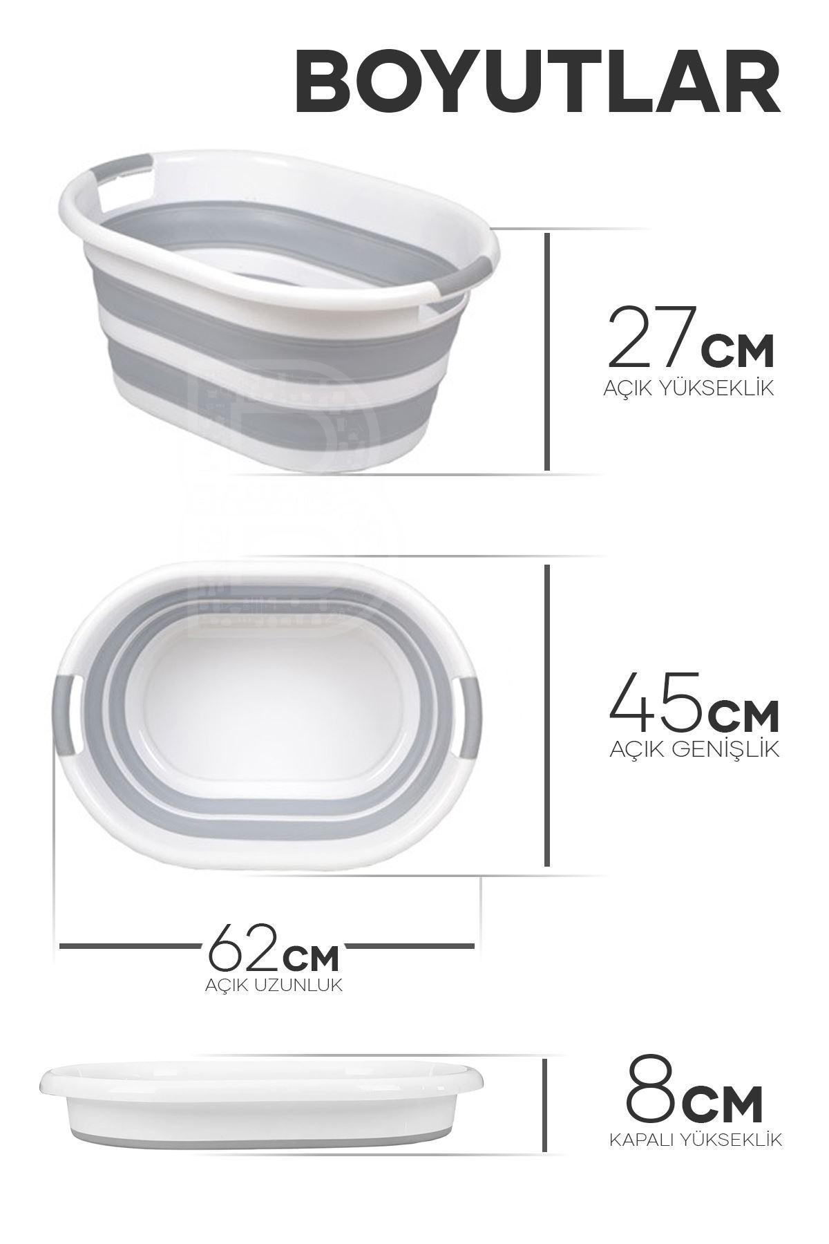 Kitchen Trend Akordiyon Katlanabilir Silikonlu Çamaşır Sepeti