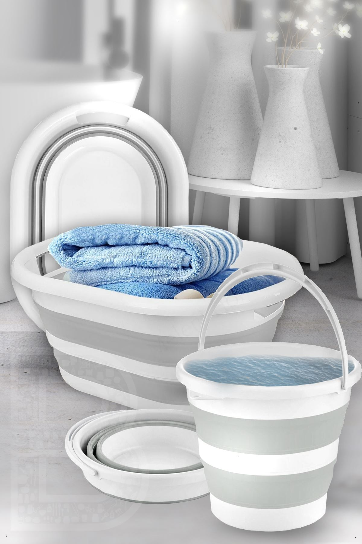 Kitchen Trend 2'li Set Katlanır Çamaşır Sepeti, Katlanabilir Akordeon Su Kovası