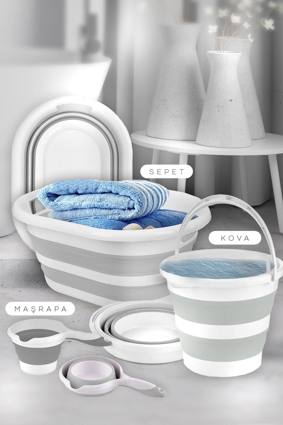 Kitchen Trend 3' Lü Set Katlanır Çamaşır Sepeti, Katlanabilir Akordeon Su Kovası, Katlanır Maşrapa