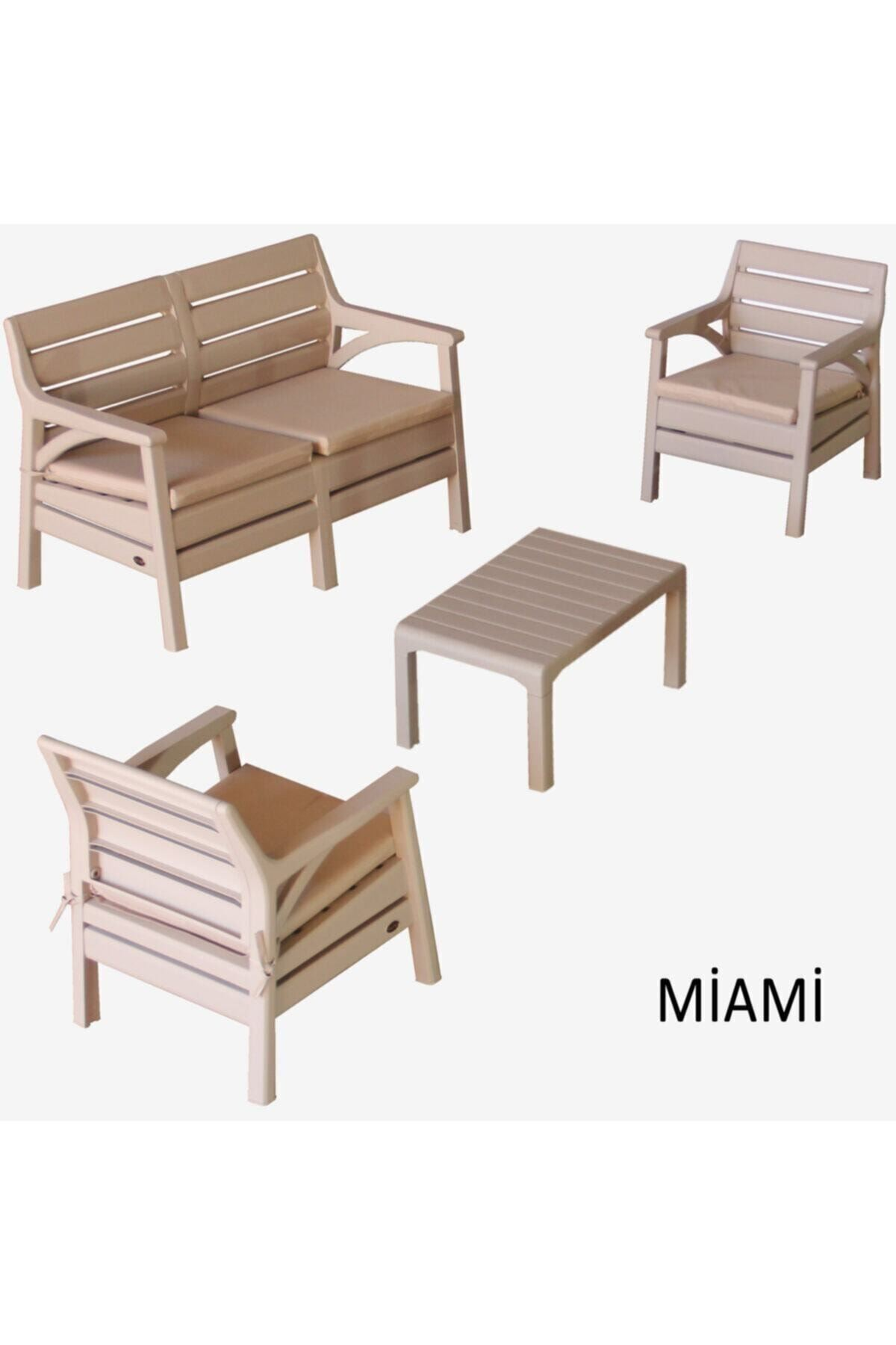 Miami Bahçe Ve Balkon Seti Oturma Grubu Cappucino