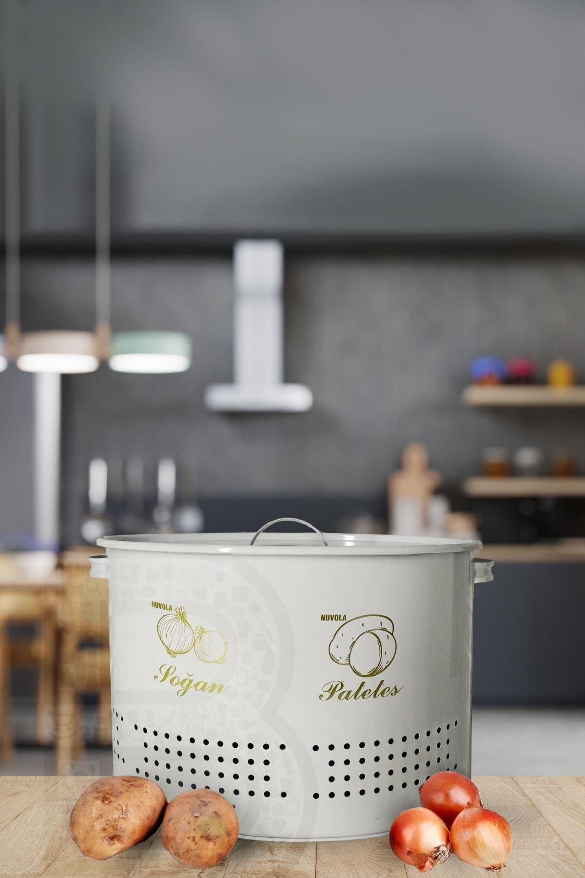 Kitchen Trend 2 Bölmeli Metal Beyaz Patates Soğanlık