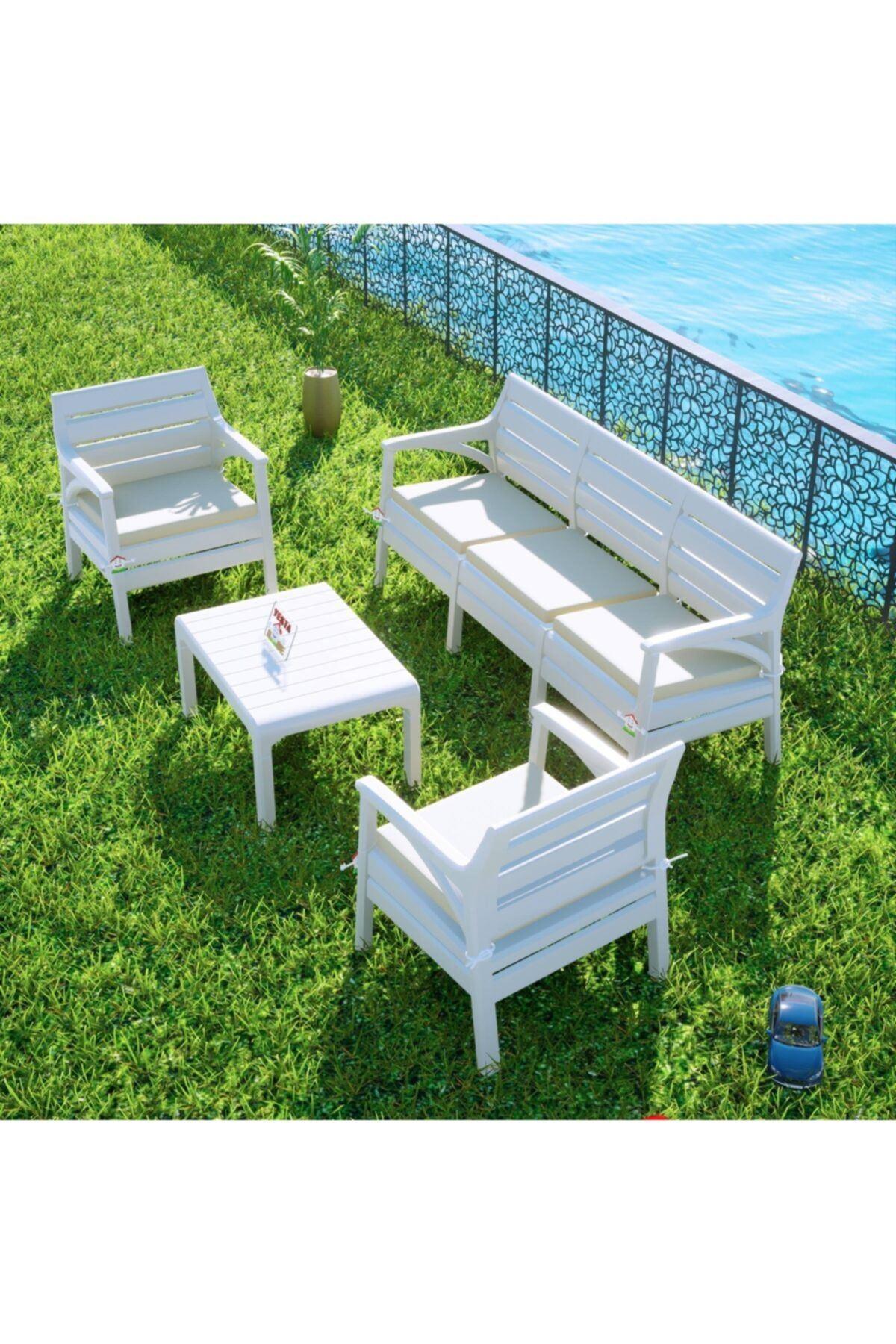 Hawaii Oturma Grubu Bahçe Ve Balkon Koltuk Takımı Beyaz