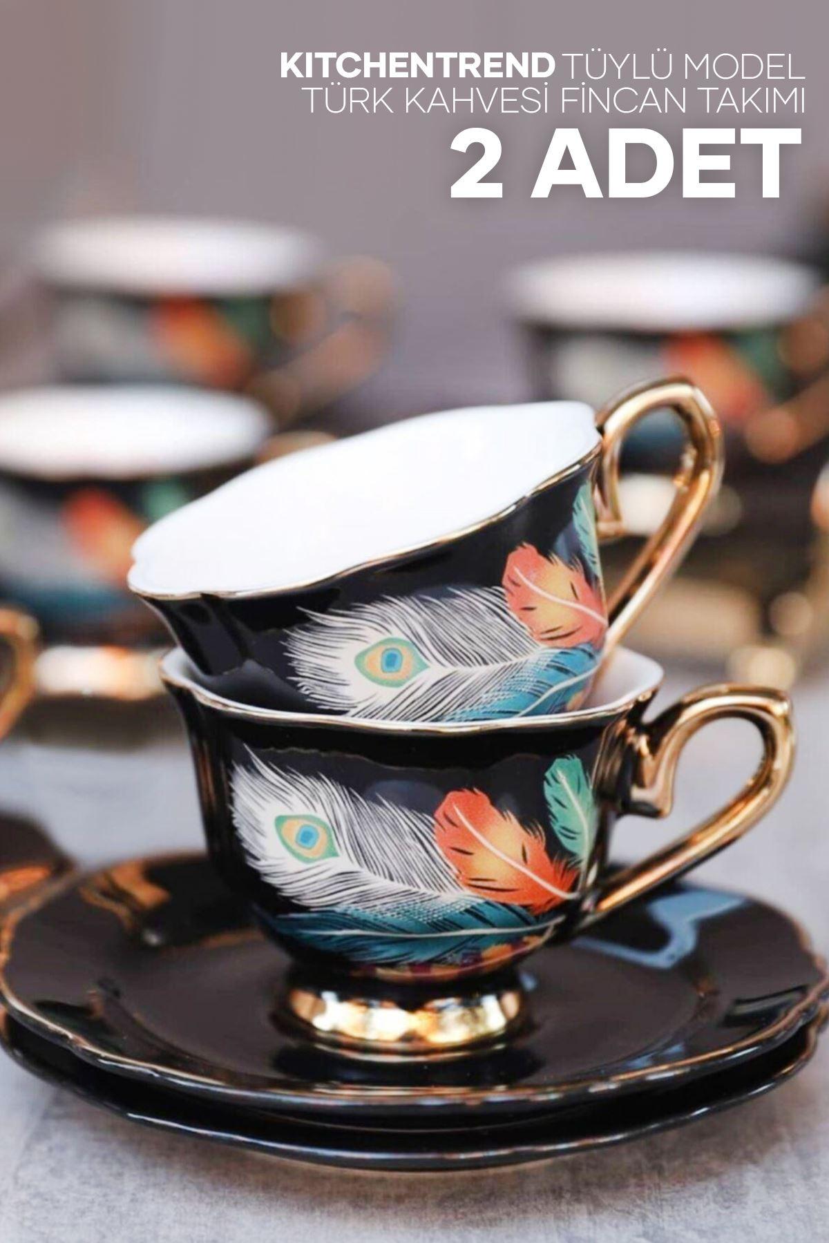 Kitchen Trend 2 Li Exclusive Tüylü Model Turk Kahve Fincan Takımı