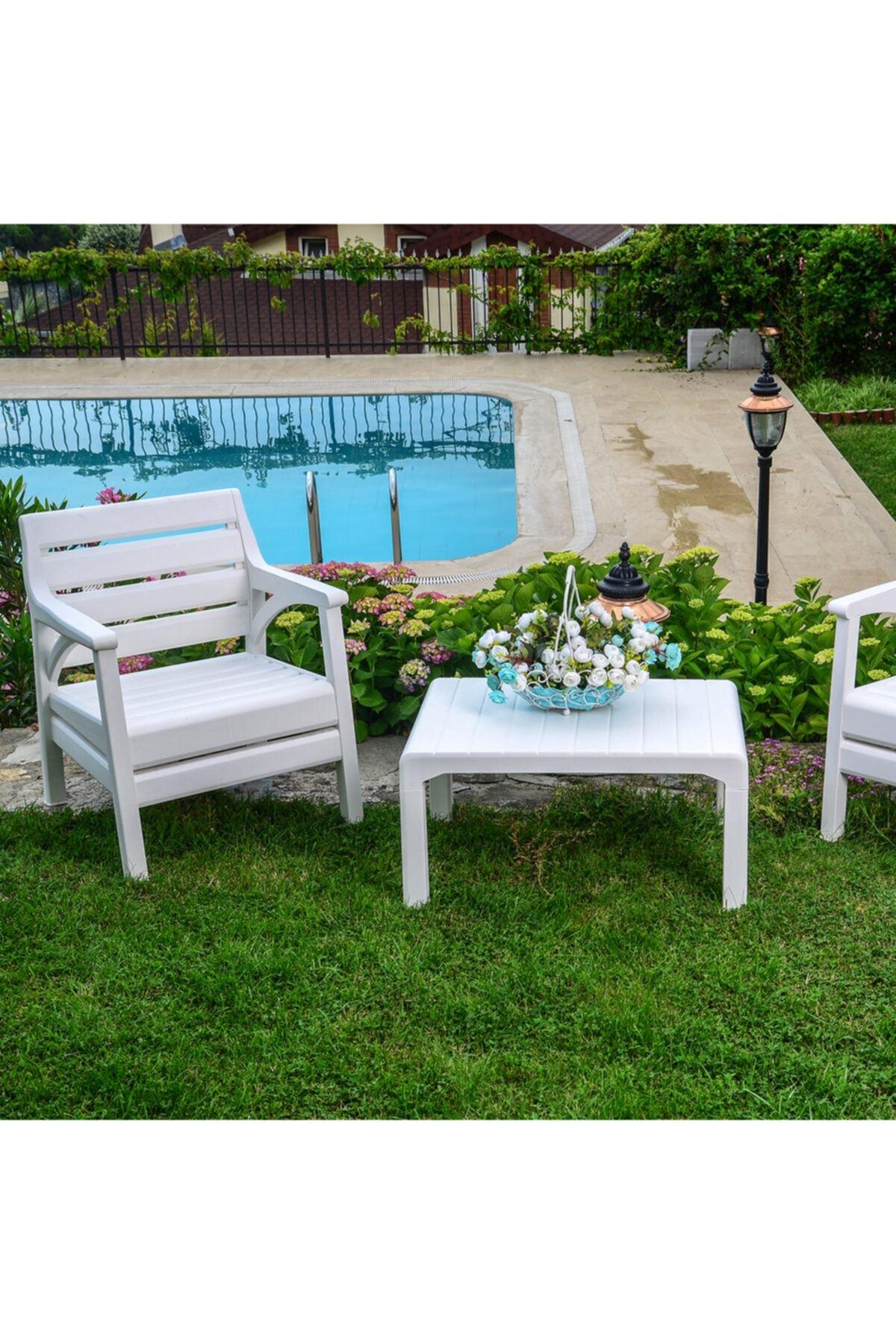 Barcelona Set Oturma Grubu Bahçe - Balkon Seti Beyaz
