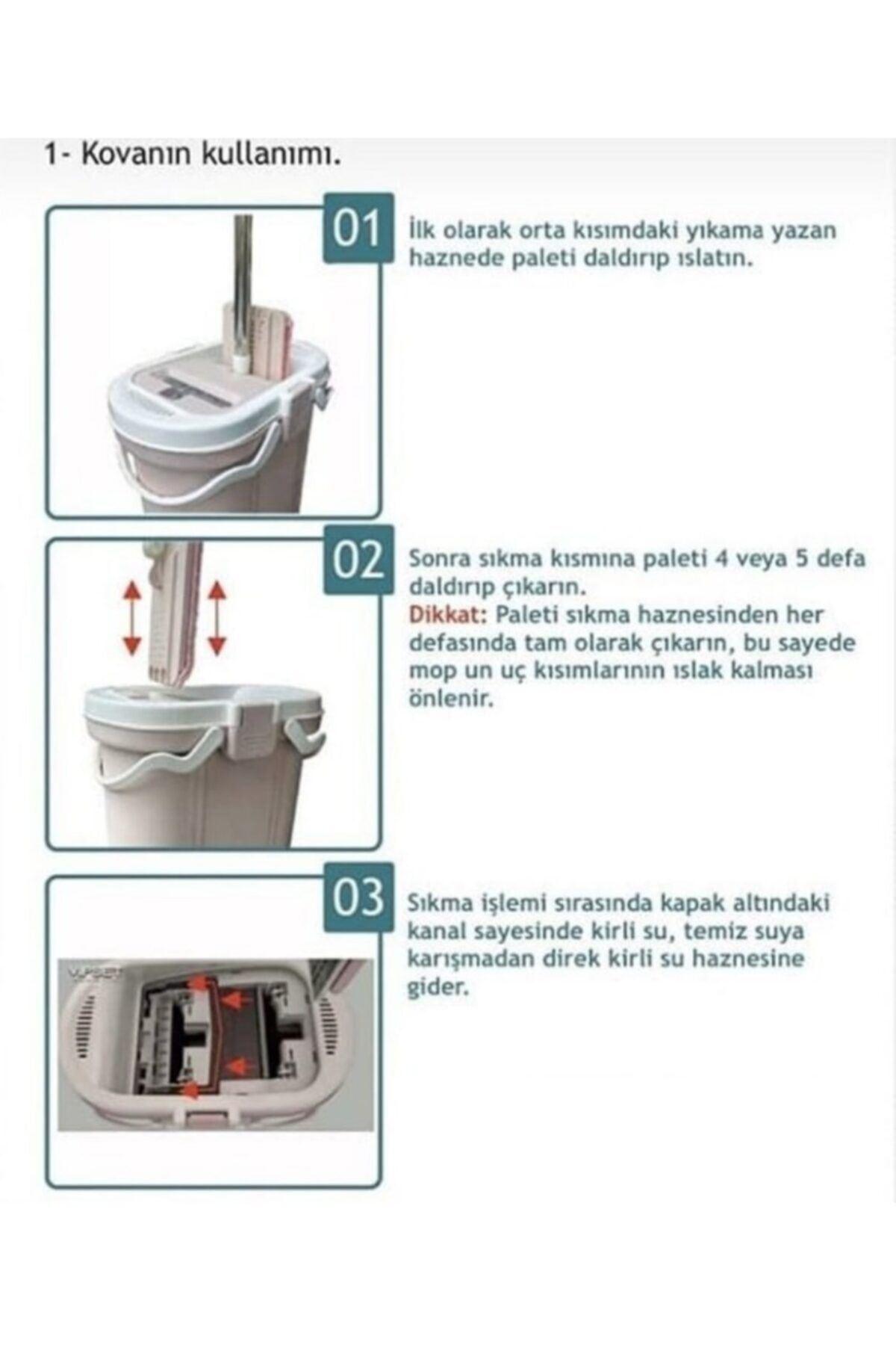 Ceyiz Seti Vipset Premium Çizgili Mop Temizlik Kova Ve Temizlik Seti
