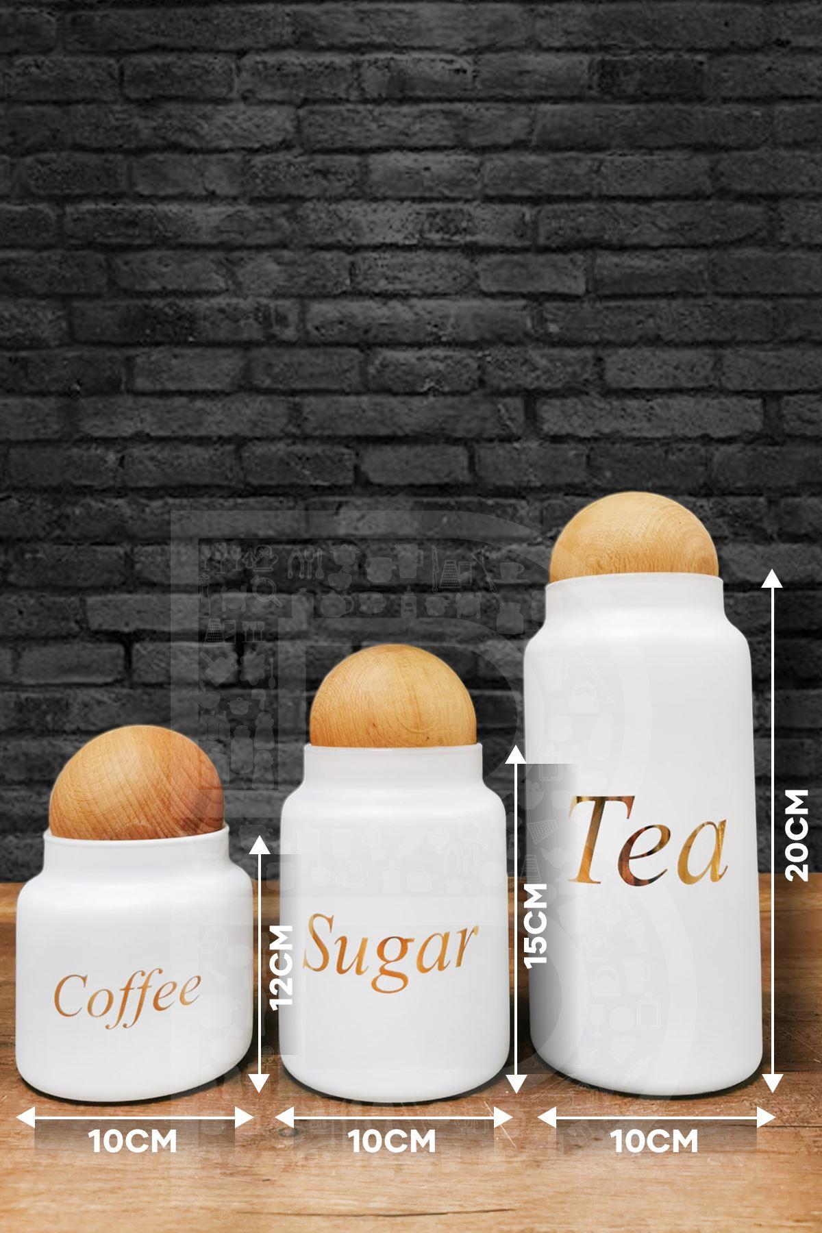 Kitchen Trend 3 Lü Top Kapaklı Beyaz Dekoratif Baharat Takımı