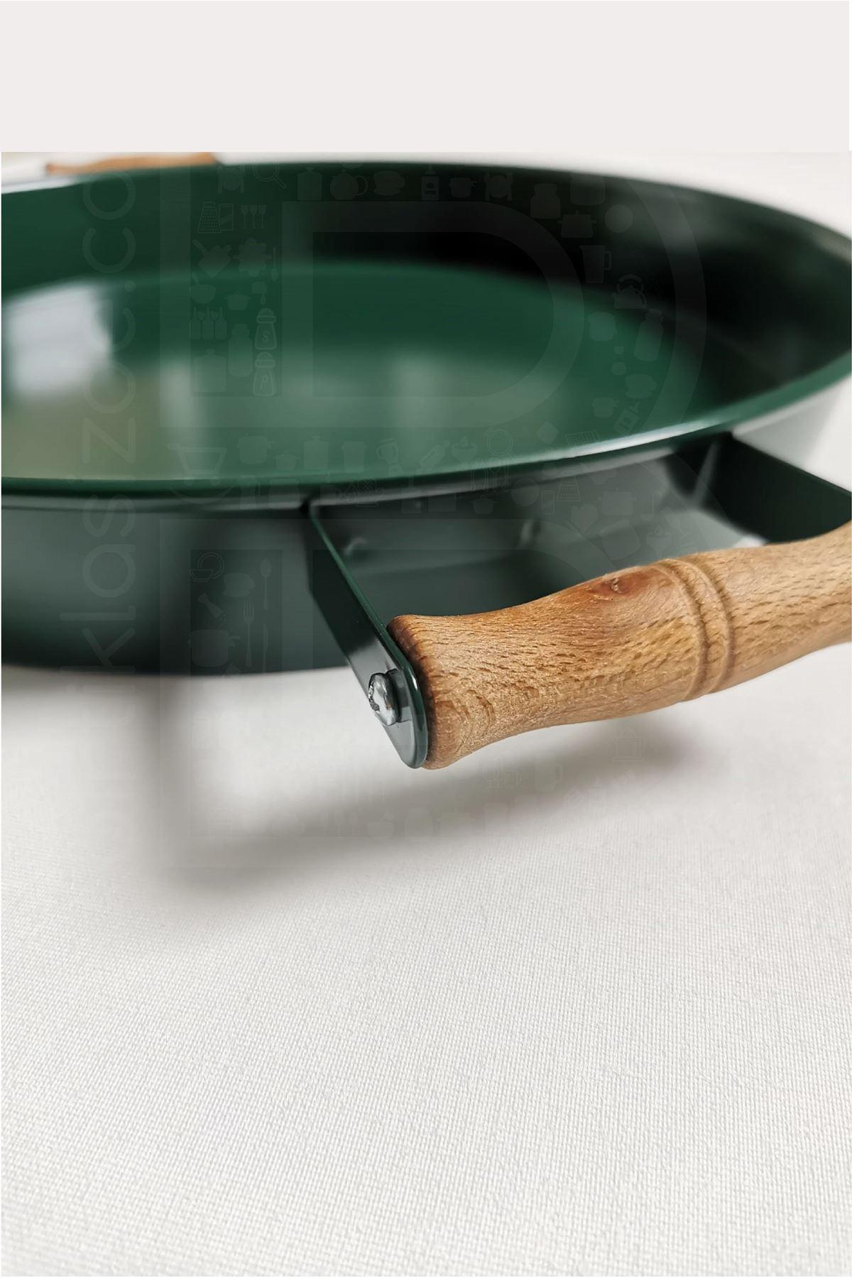Kitchen Trend 37 Cm Ahşap Kulplu Metal Yuvarlak Yeşil Tepsi Sunum Tepsi, Kahvaltı Tepsisi