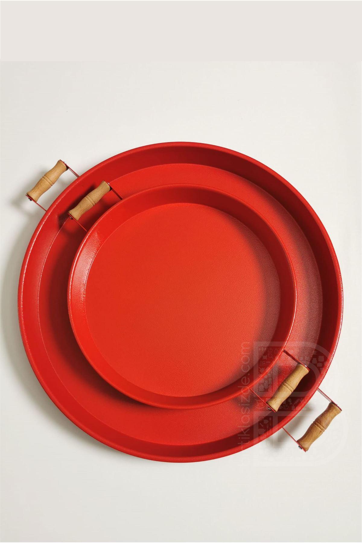 Kitchen Trend 2 Li 51 Cm ve 37 Cm  Ahşap Kulplu Metal Yuvarlak Kırmızı Tepsi Sunum Tepsi, Kahvaltı Tepsisi