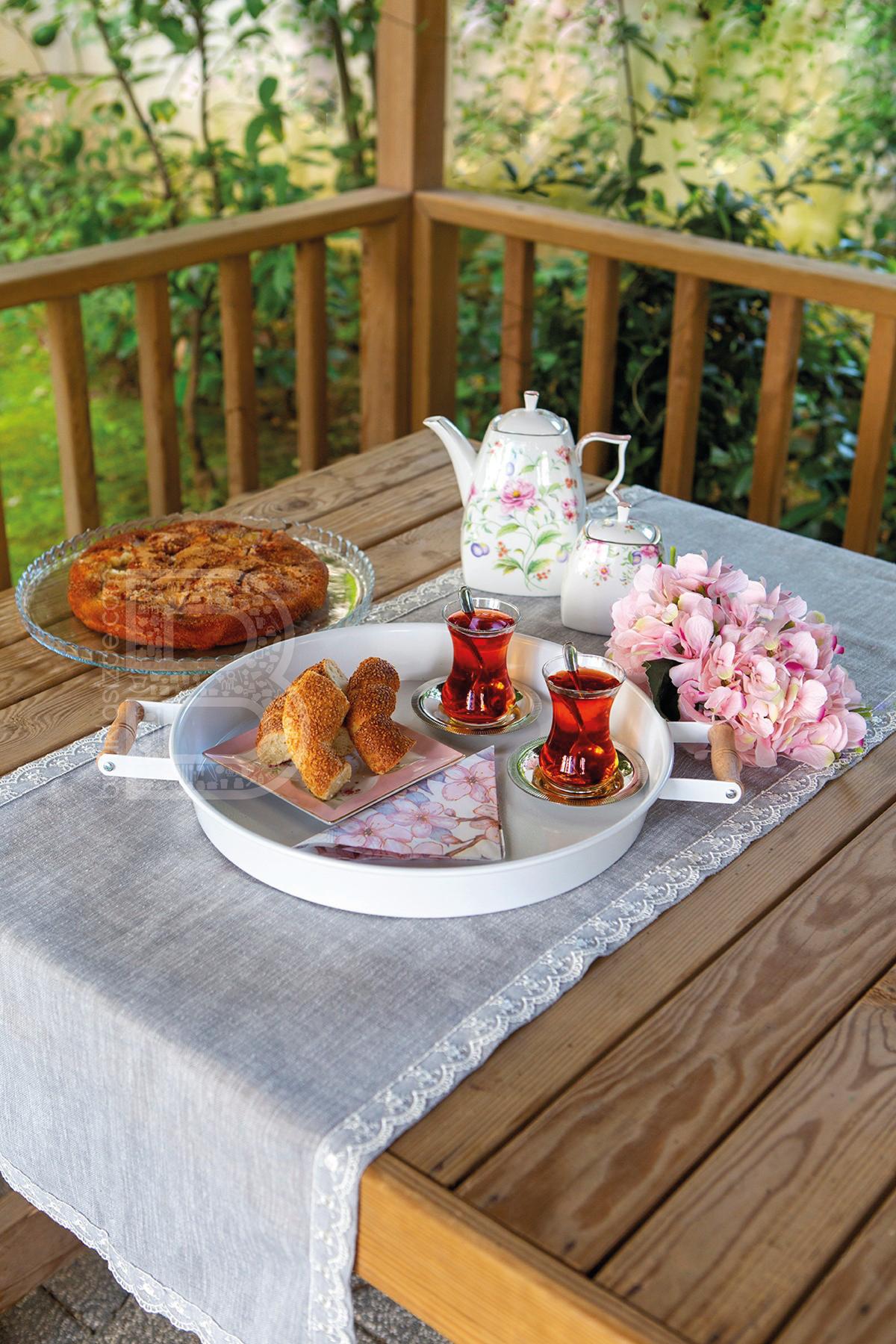 Kitchen Trend 2'li Ahşap Kulplu 51 cm Metal Tepsi ve 37 cm Beyaz Tepsi Çay Kahve Sunum Tepsisi