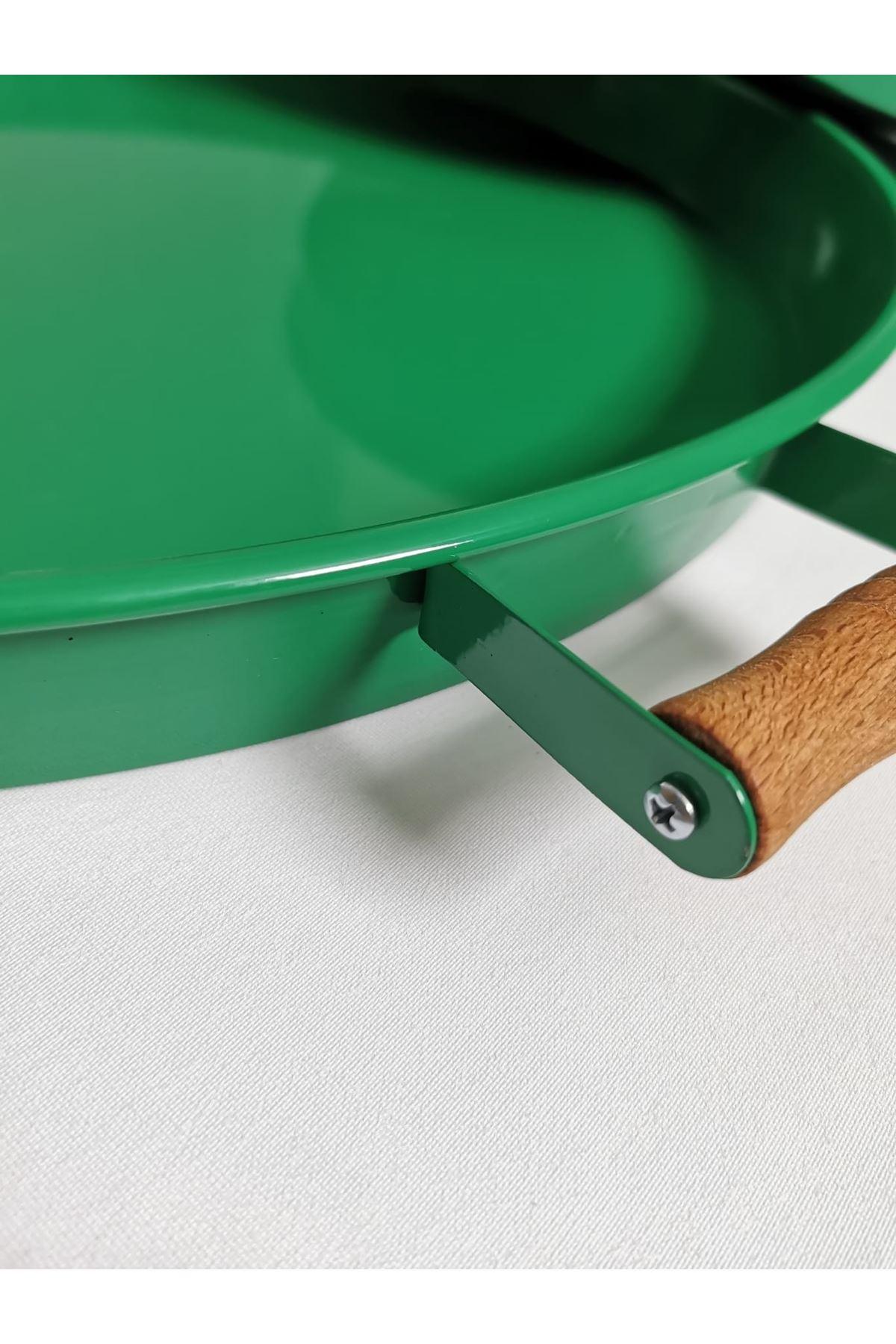 Kitchen Trend 37 Cm Ahşap Kulplu Metal Yuvarlak Açık Yeşil Tepsi Sunum Tepsi, Kahvaltı Tepsisi