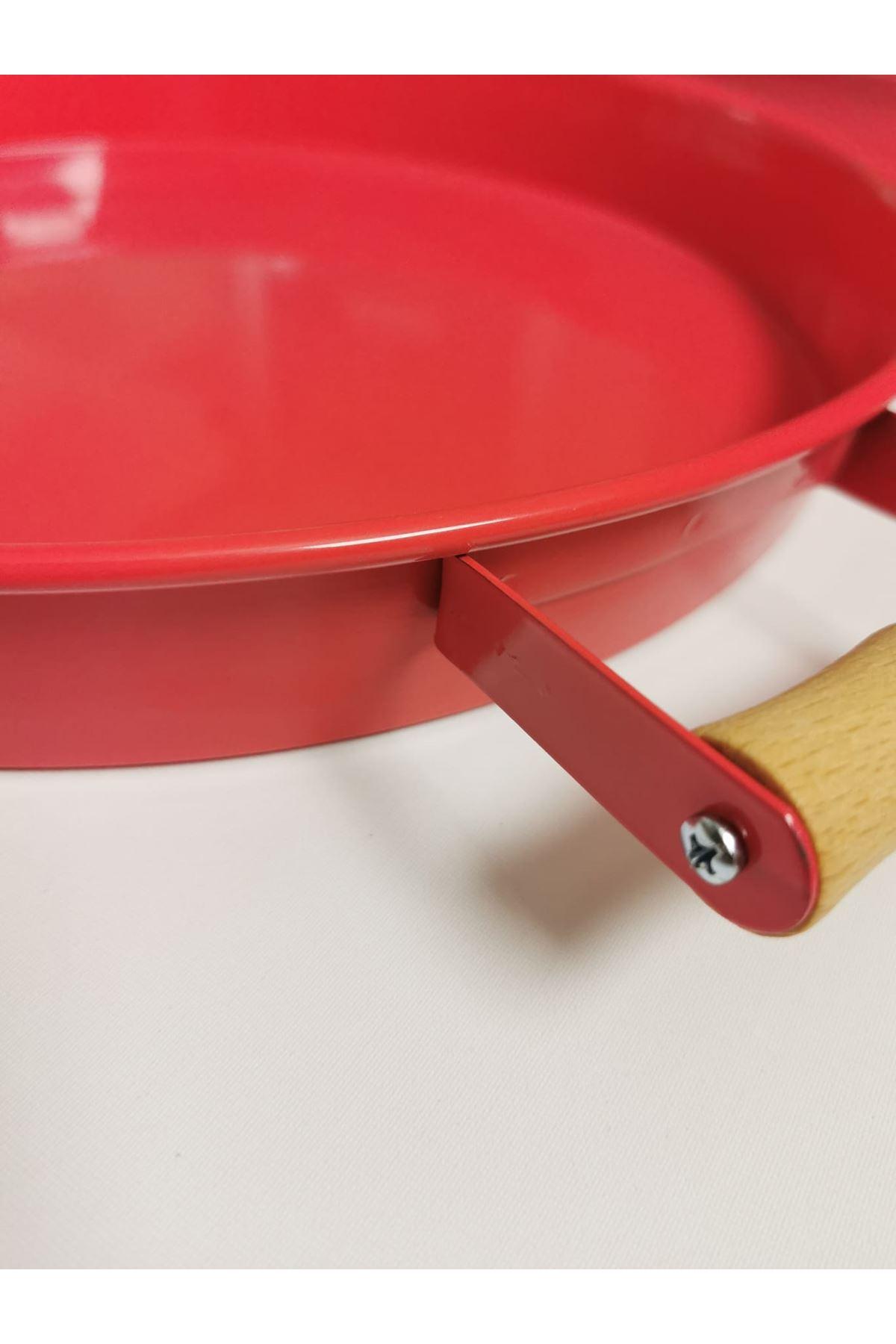 Kitchen Trend 37 Cm Ahşap Kulplu Metal Yuvarlak Pembe Tepsi Sunum Tepsi, Kahvaltı Tepsisi
