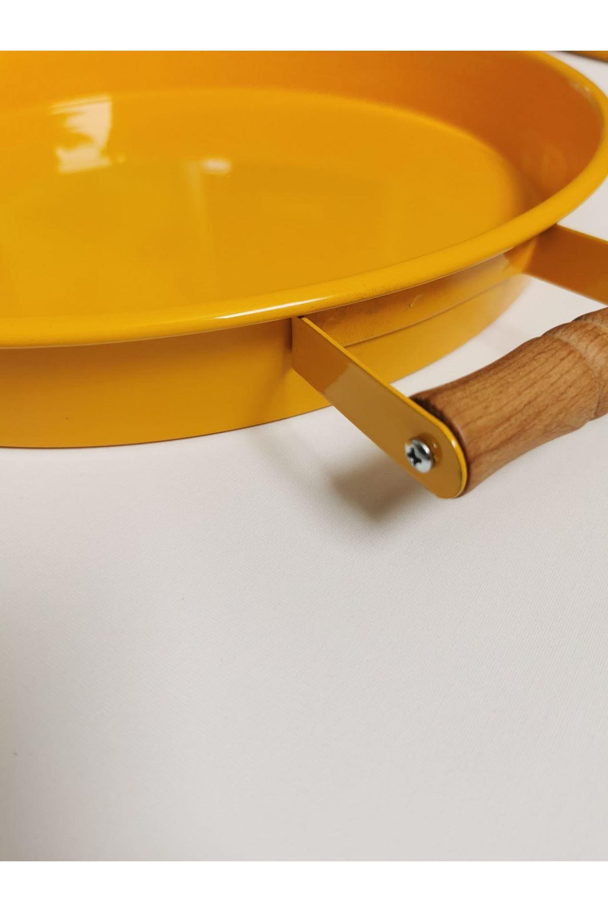 Kitchen Trend 37 Cm Ahşap Kulplu Metal Yuvarlak Sarı Tepsi Sunum Tepsi, Kahvaltı Tepsisi