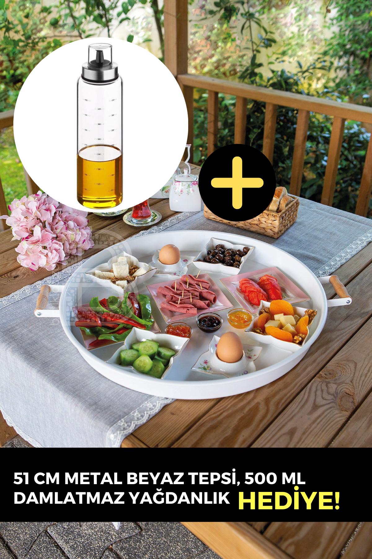 Kitchen Trend Metal 51 Cm Beyaz Ahşap Kulplu Yuvarlak Beyaz Tepsi, 500 Ml Borosilikat Yağdanlık HEDİYELİ!
